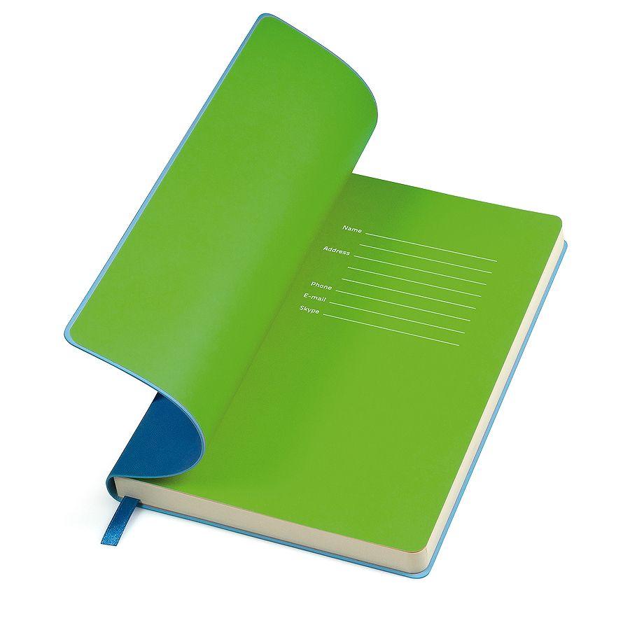 Фотография товара Бизнес-блокнот «Funky», 130*210 мм, голубой,  зеленый форзац, мягкая обложка, блок-линейка