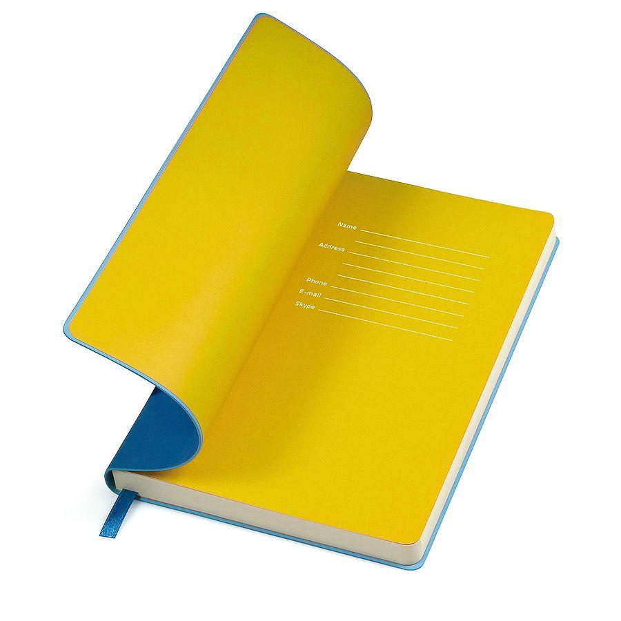 Бизнес-блокнот «Funky», 130*210 мм, голубой, желтый форзац, мягкая обложка, блок-линейка