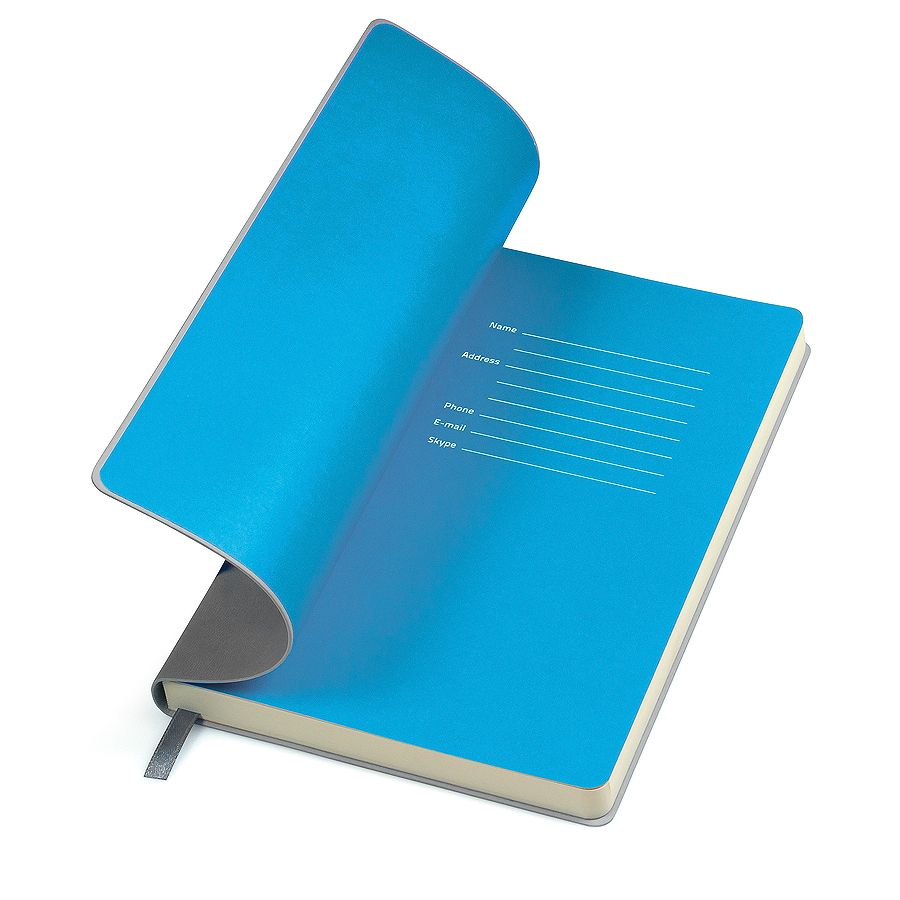 Бизнес-блокнот «Funky», 130*210 мм,  серый, голубой форзац, мягкая обложка, блок-линейка