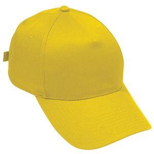 Бейсболка «Стандарт», 5 клиньев, металлическая застежка; желтый; 100% хлопок; плотность 175 г/м2