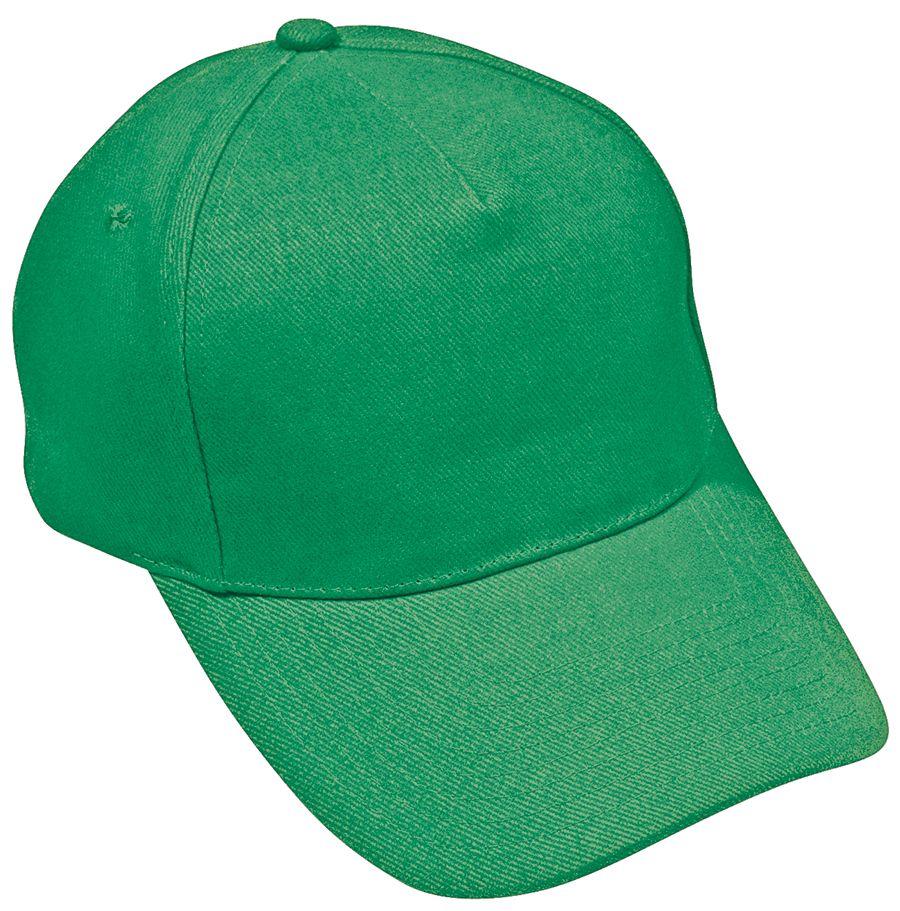 Бейсболка «Hit», 5 клиньев,  застежка на липучке; зеленый; 100% п/э; плотность 135 г/м2