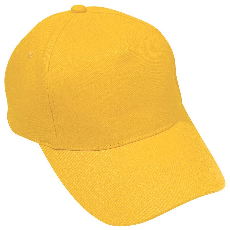 Бейсболка «Hit», 5 клиньев,  застежка на липучке; желтый; 100% п/э; плотность 135 г/м2