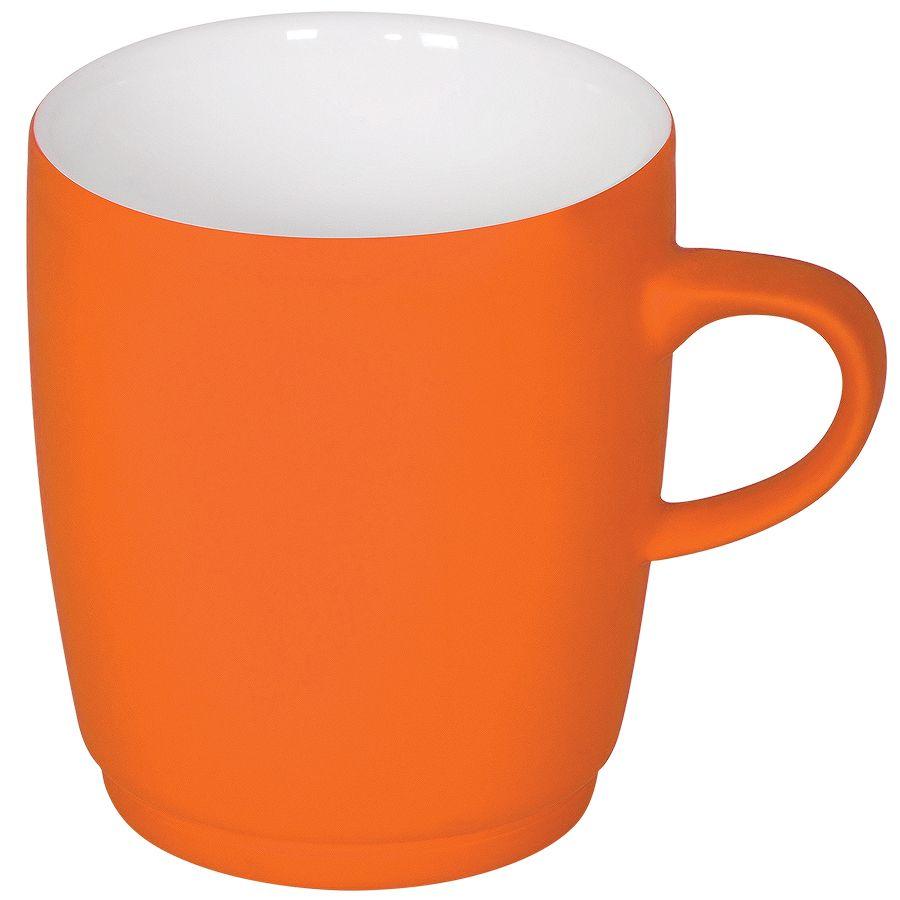 Кружка «Soft» с прорезиненным покрытием, оранжевая, 350 мл, фарфор