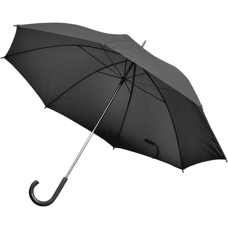 Фотография товара Зонт-трость с пластиковой ручкой, механический; черный; D=103 см; нейлон; шелкография