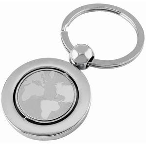 Брелок «Земной шар»; серебристый; 7х3,4х0,4 см; металл; лазерная гравировка