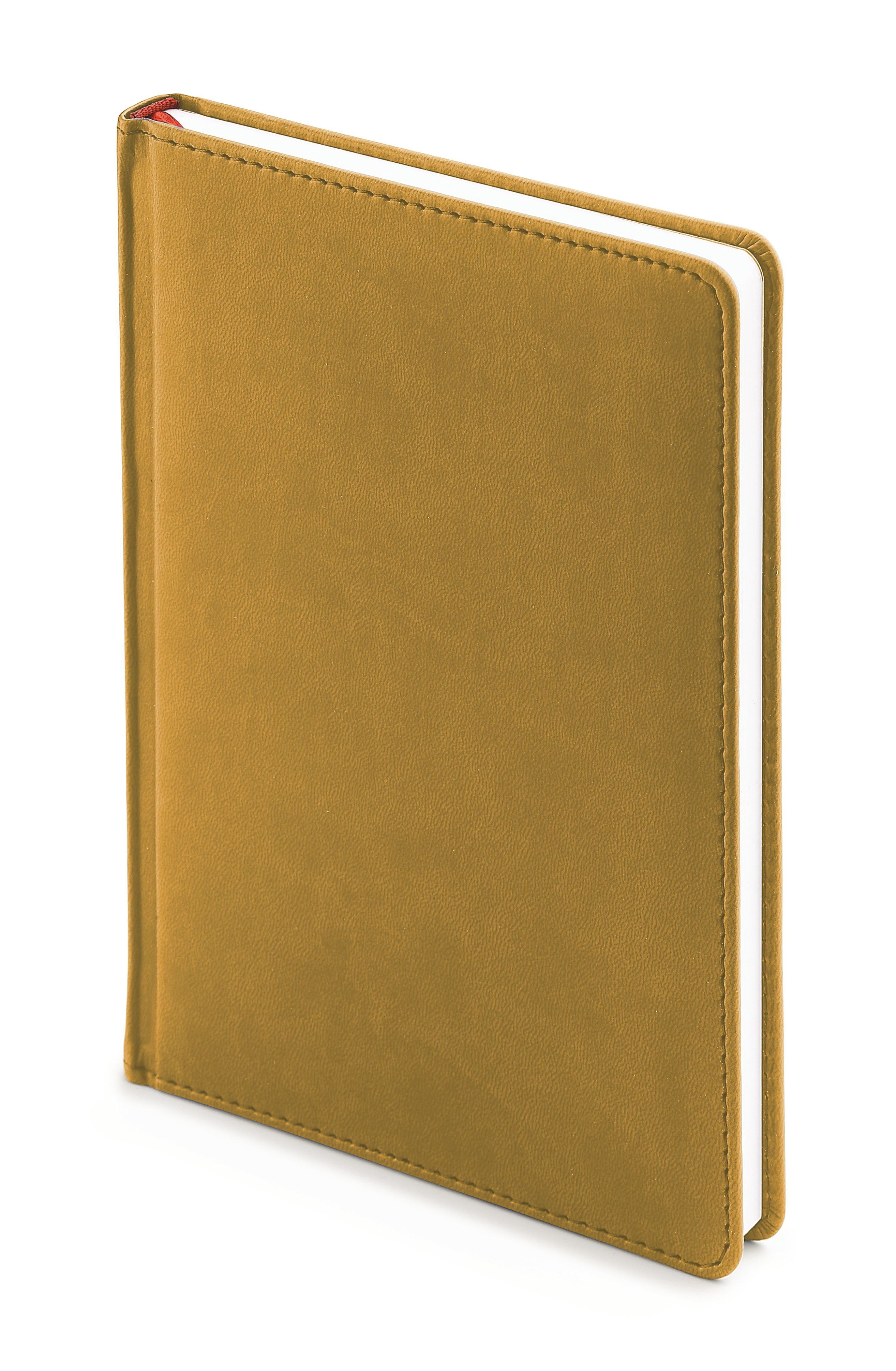 Ежедневник недатированный Velvet, А5, горчичный, белый блок, без обреза