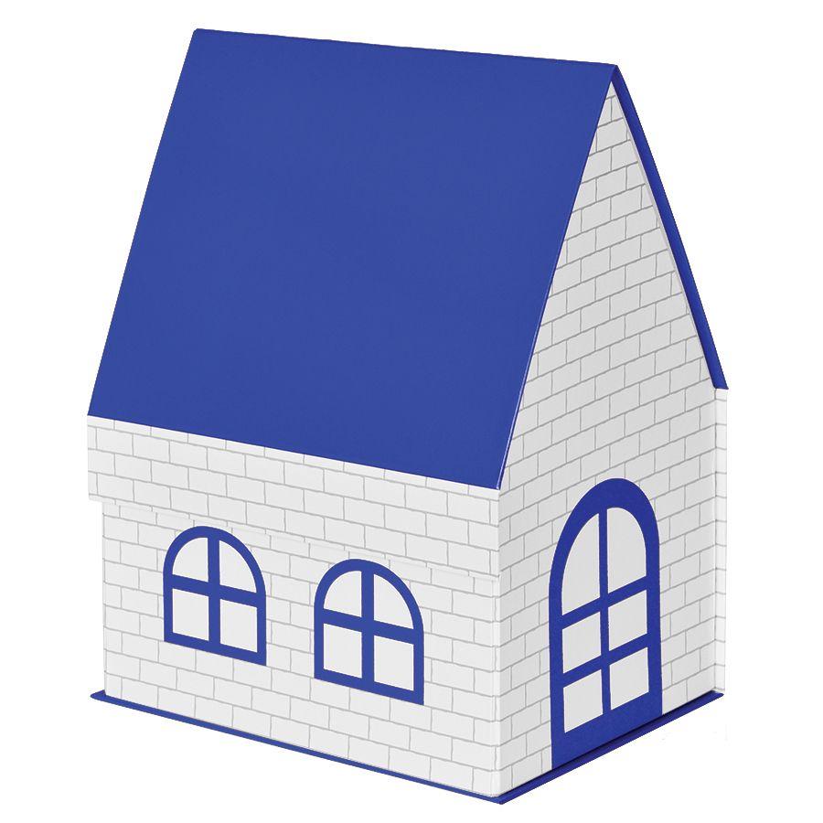 Фотография товара Коробка подарочная «ДОМ»  складная,  синий,  15*21*27 см,  кашированный картон, тиснение