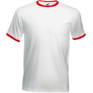 """Футболка """"Ringer T"""", белый с красным_XL, 100% х/б, 160 г/м2"""