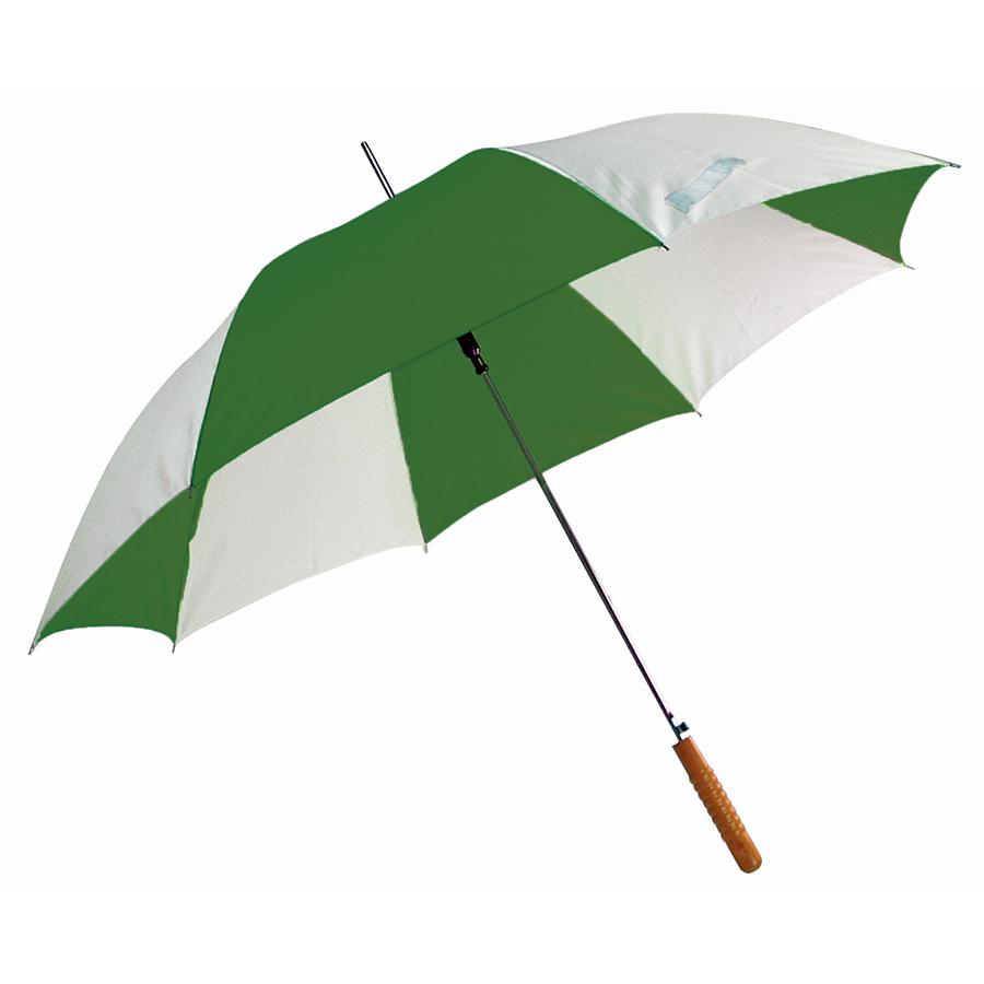 Зонт-трость «Joy» с деревянной ручкой, полуавтомат; белый с зеленым; D=103 cм; нейлон; шелкография