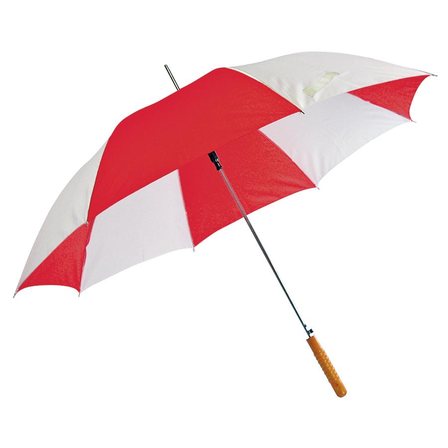 Зонт-трость «Joy» с деревянной ручкой, полуавтомат; белый с красным; D=103 cм; нейлон; шелкография