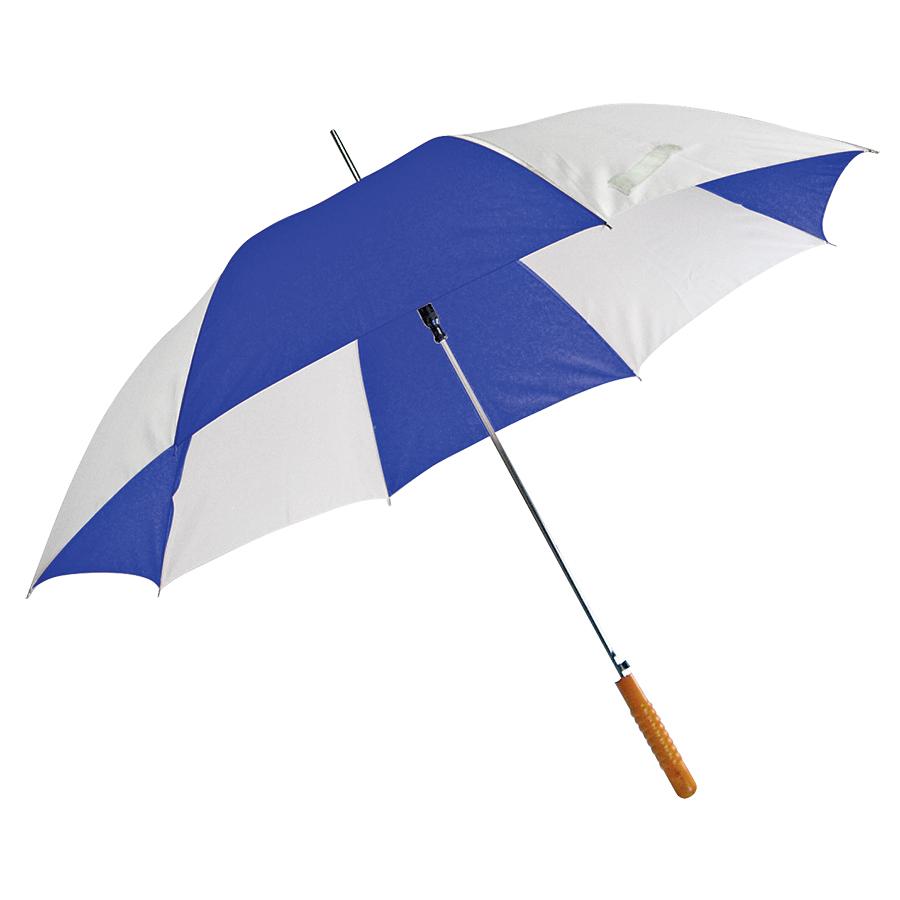 Зонт-трость «Joy» с деревянной ручкой, полуавтомат; белый с синим; D=103 cм; нейлон; шелкография