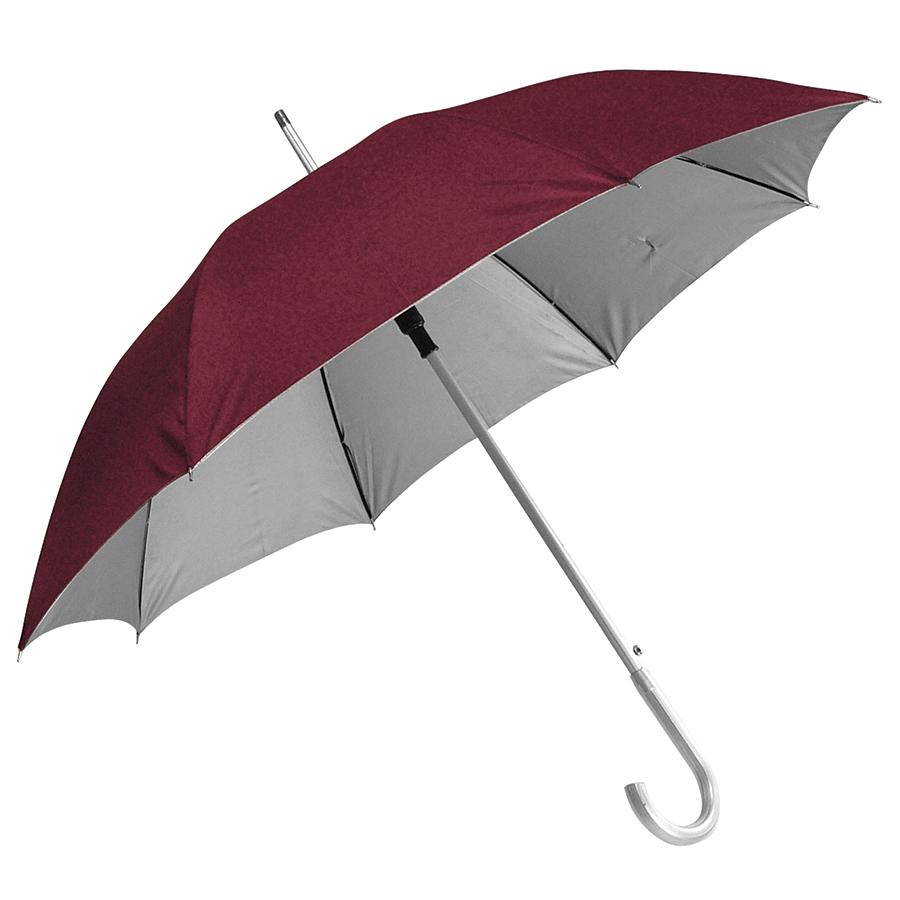 Зонт-трость с пластиковой ручкой «под алюминий» «Silver», полуавтомат; бордовый с серебром; D=103 cм