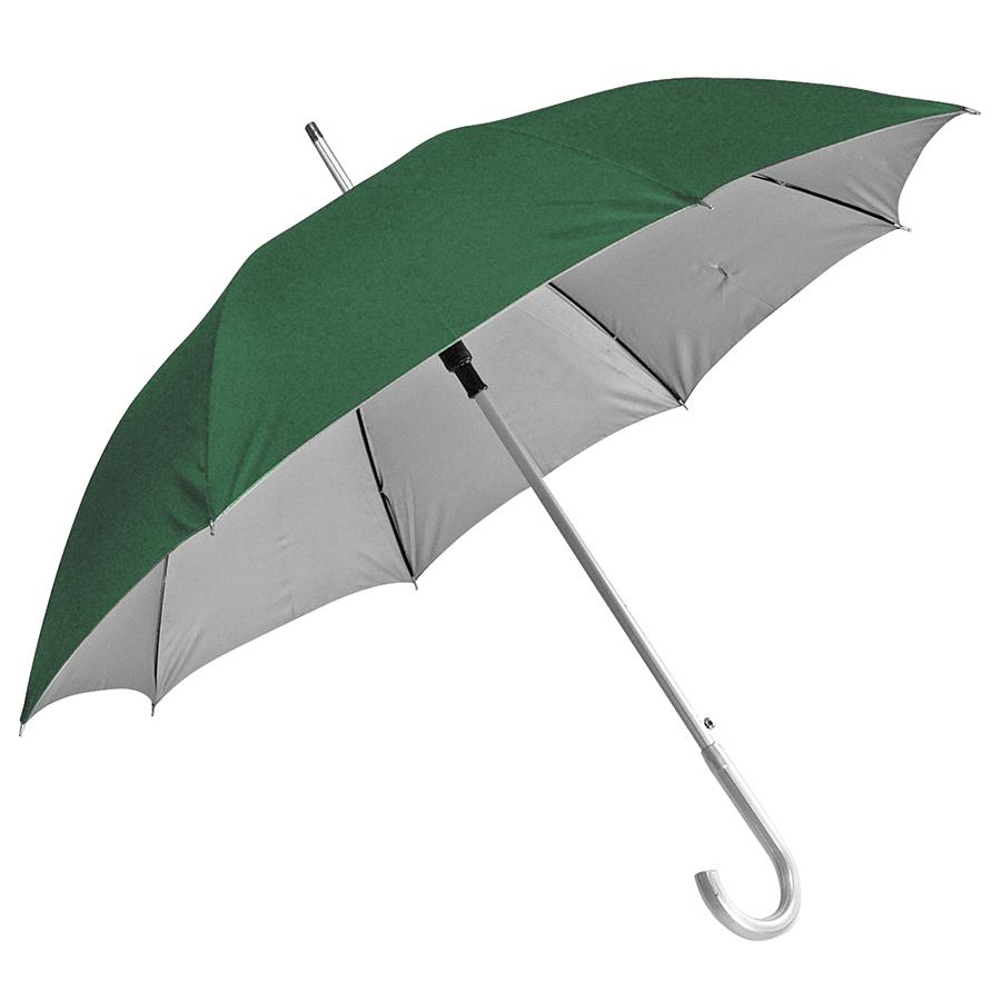 Зонт-трость с пластиковой ручкой «под алюминий» «Silver», полуавтомат; зеленый с серебром; D=103 cм;
