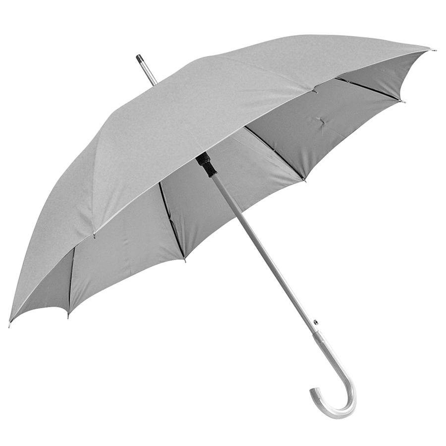 Зонт-трость с пластиковой ручкой «под алюминий» «Silver», полуавтомат; серый; D=103 см;