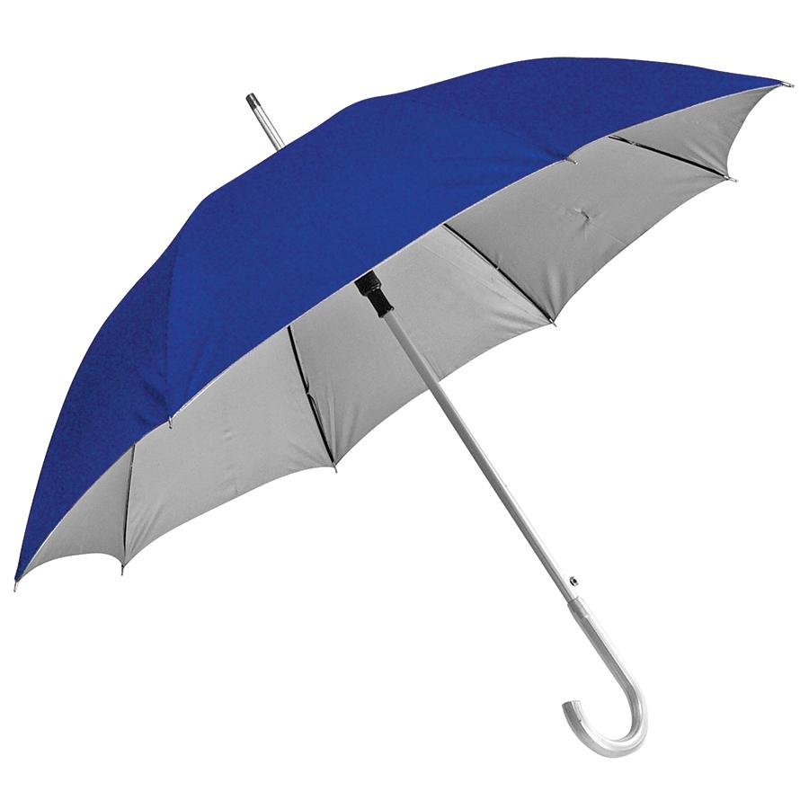 Зонт-трость с пластиковой ручкой «под алюминий» «Silver», полуавтомат; синий с серебром; D=103 см;