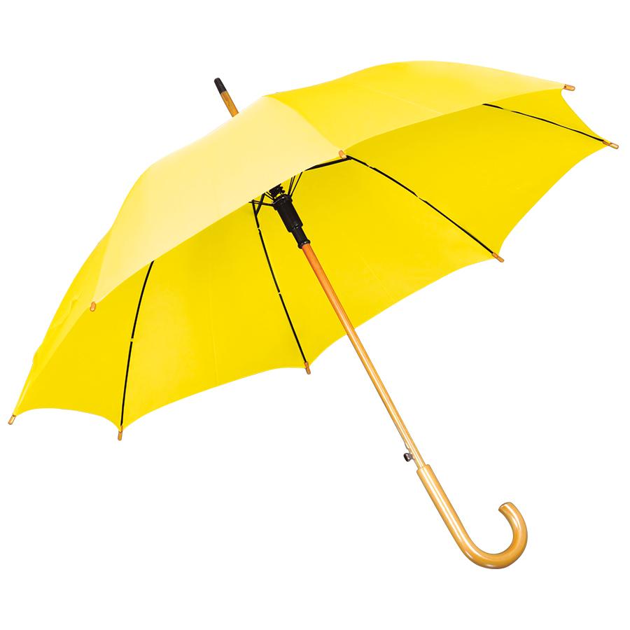 Фотография товара Зонт-трость с деревянной ручкой, полуавтомат; желтый; D=103 см, L=90см; нейлон; шелкография