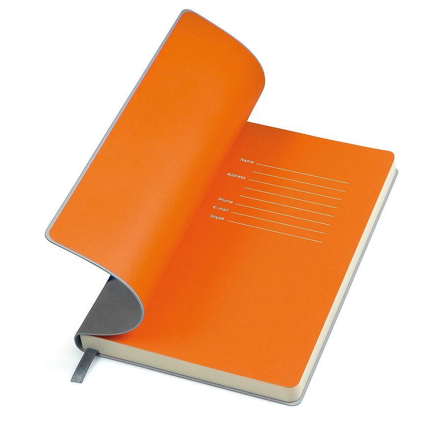 Бизнес-блокнот «Funky», 130*210 мм, серый,  оранжевый форзац, мягкая обложка, блок-линейка