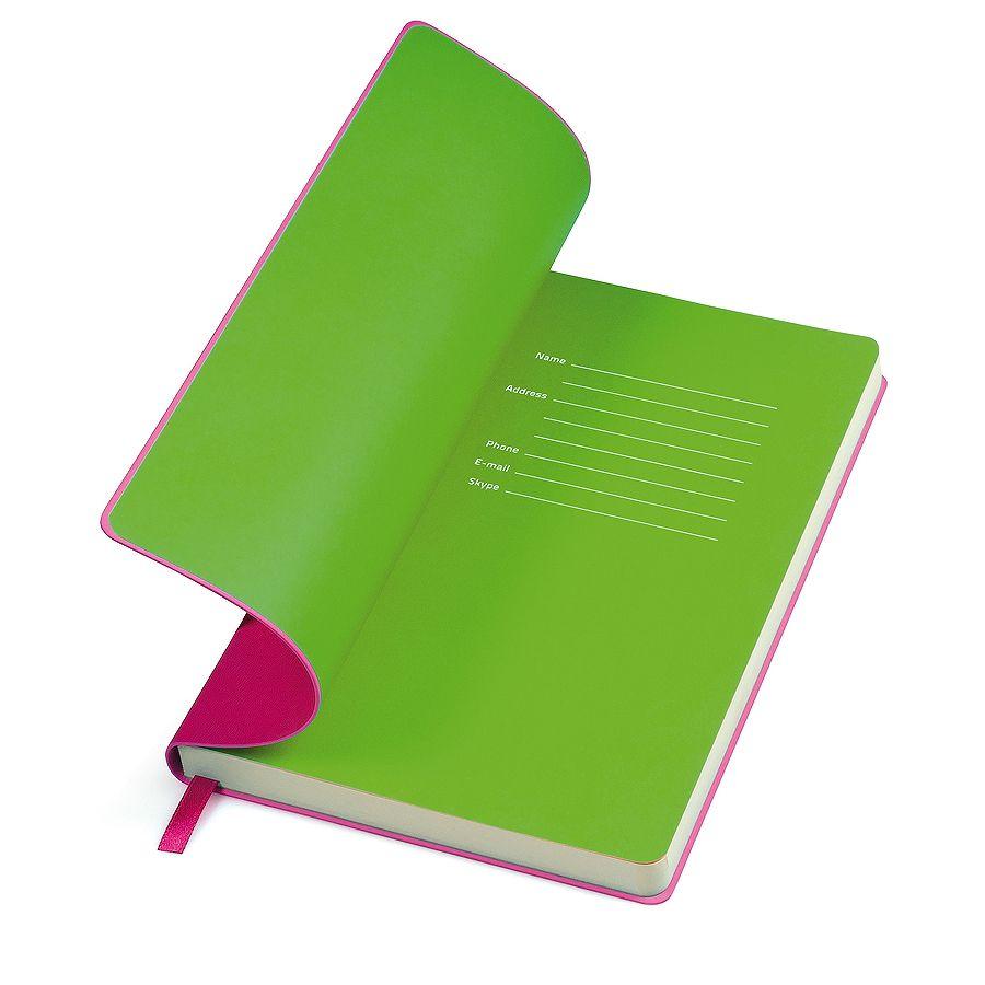 Фотография товара Бизнес-блокнот «Funky» розовый с  зеленым  форзацем, мягкая обложка,  линейка