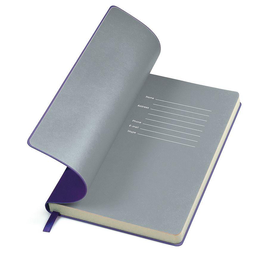 Фотография товара Бизнес-блокнот «Funky» фиолетовый с  серым форзацем, мягкая обложка,  линейка