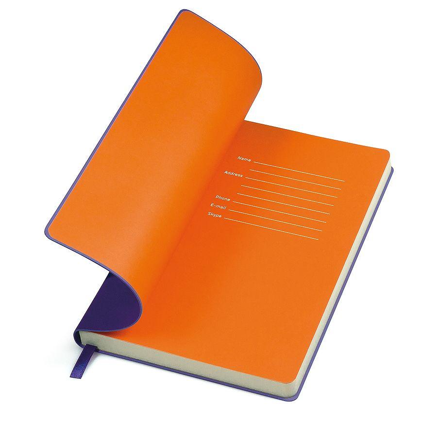 Фотография товара Бизнес-блокнот «Funky» фиолетовый с оранжевым форзацем, мягкая обложка,  линейка