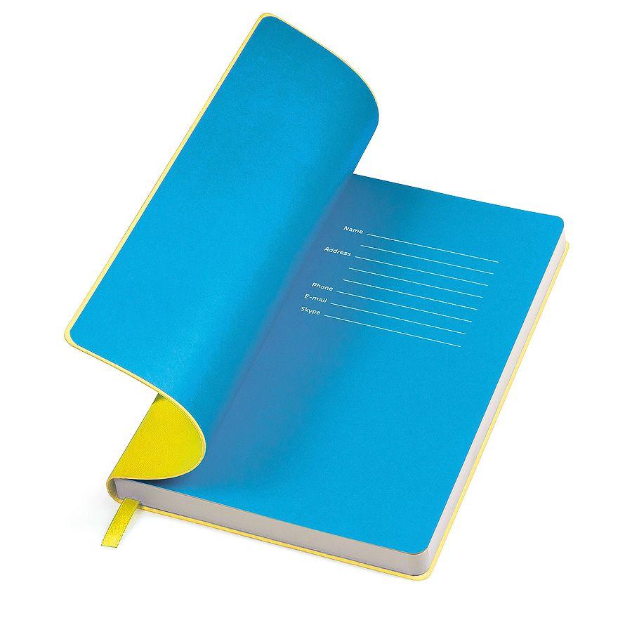 Фотография товара Бизнес-блокнот «Funky» желтый с голубым  форзацем, мягкая обложка,  линейка