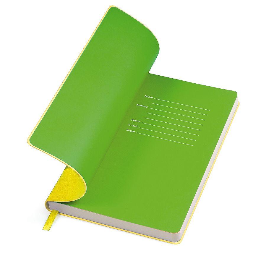 Фотография товара Бизнес-блокнот «Funky» желтый с зеленым форзацем, мягкая обложка,  линейка
