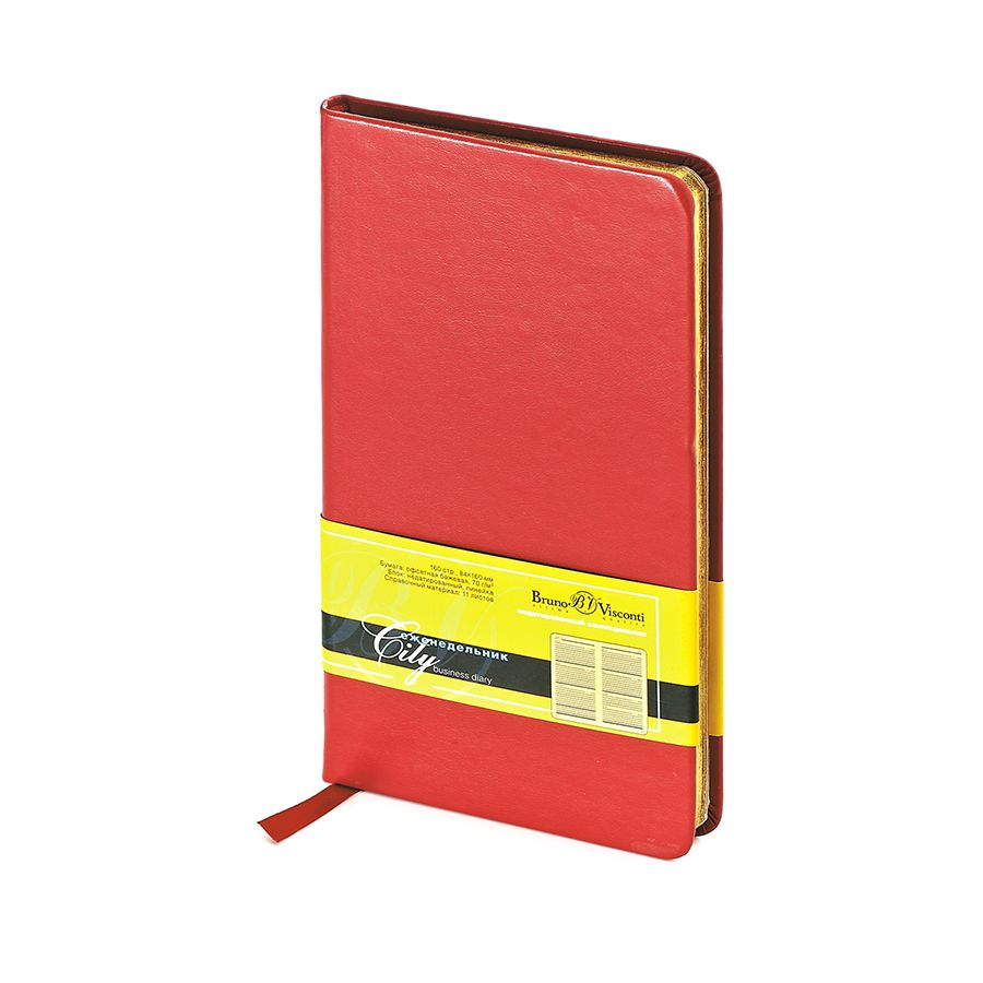 Еженедельник недатированный City, красный, А6, бежевый блок, золотой обрез, ляссе