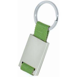 Фотография товара Брелок; зеленый с серебристым; 8,4х3,5х0,5 см; металл, текстиль; лазерная гравировка
