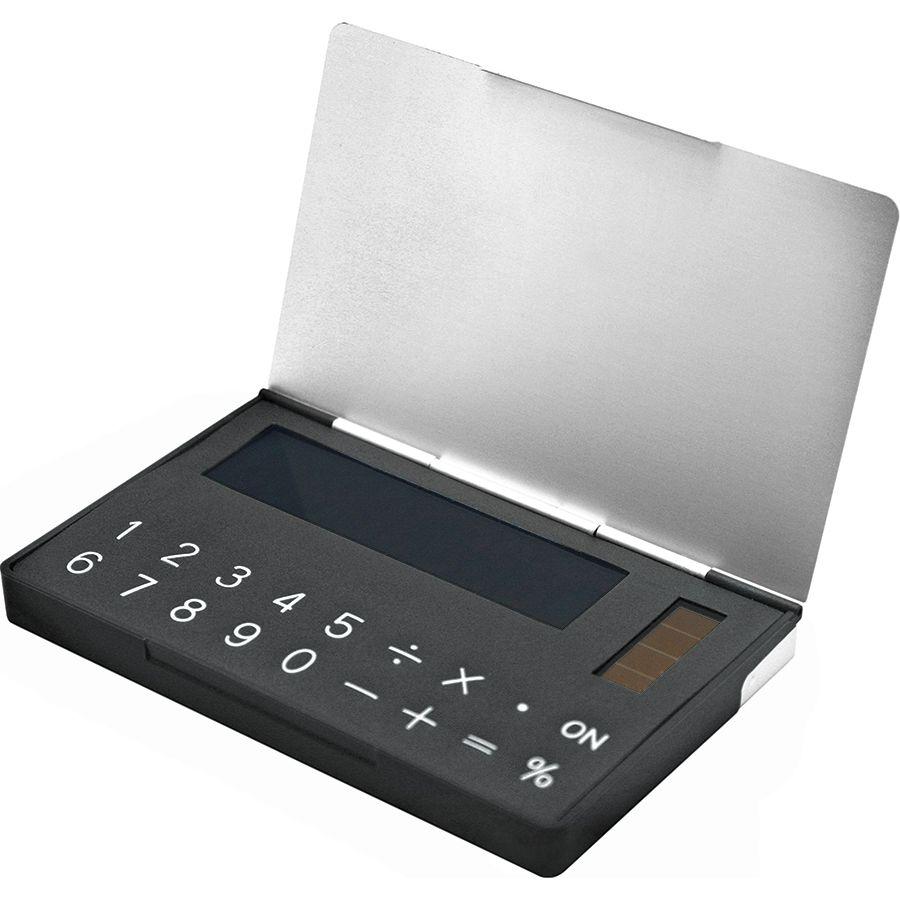 Калькулятор с визитницей; 9,8х6,1х1 см; металл,пластик; лазерная гравировка,тампопечать