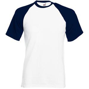 Футболка «Short Sleeve Baseball T», белый с глубоким темно-синим_2XL, 100% х/б, 160 г/м2