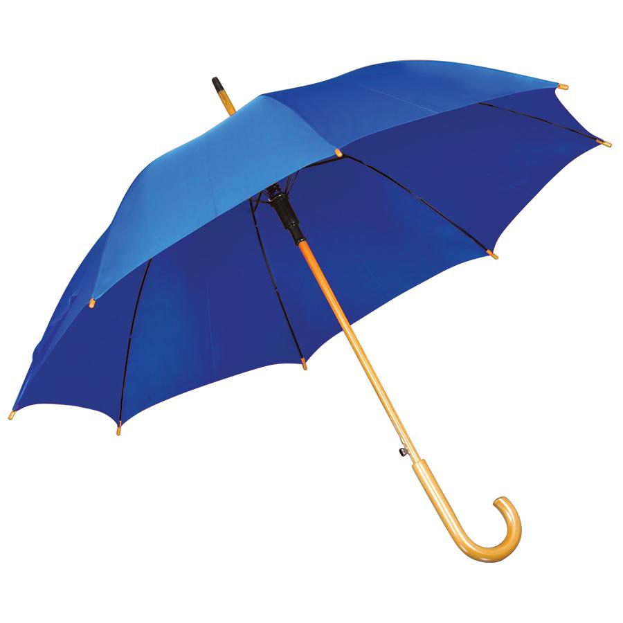 Зонт-трость с деревянной ручкой, полуавтомат; ярко-синий; D=103 см, L=90см; нейлон; шелкография