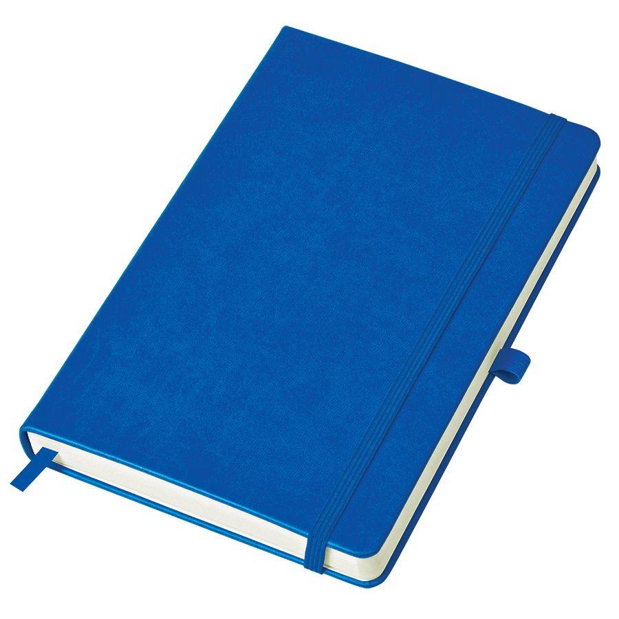 Бизнес-блокнот «Justy», 130*210 мм, синий, твердая обложка,  резинка 7 мм, блок-линейка, тиснение