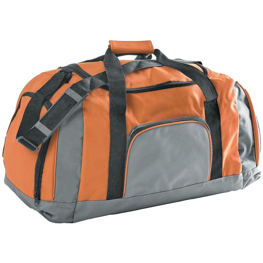Сумка дорожная; серый с оранжевым; 60х34х28 см; полиэстер; шелкография