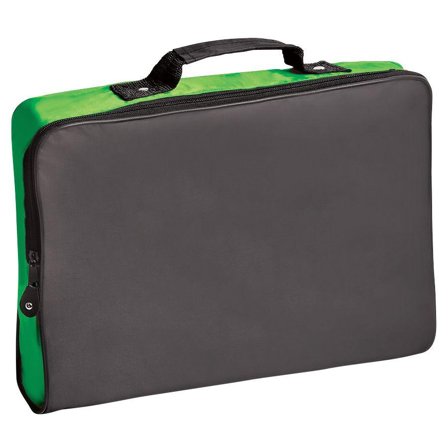Конференц-сумка «Folder»; черный с зеленым; 39,5х30х5 см; полиэстер; шелкография