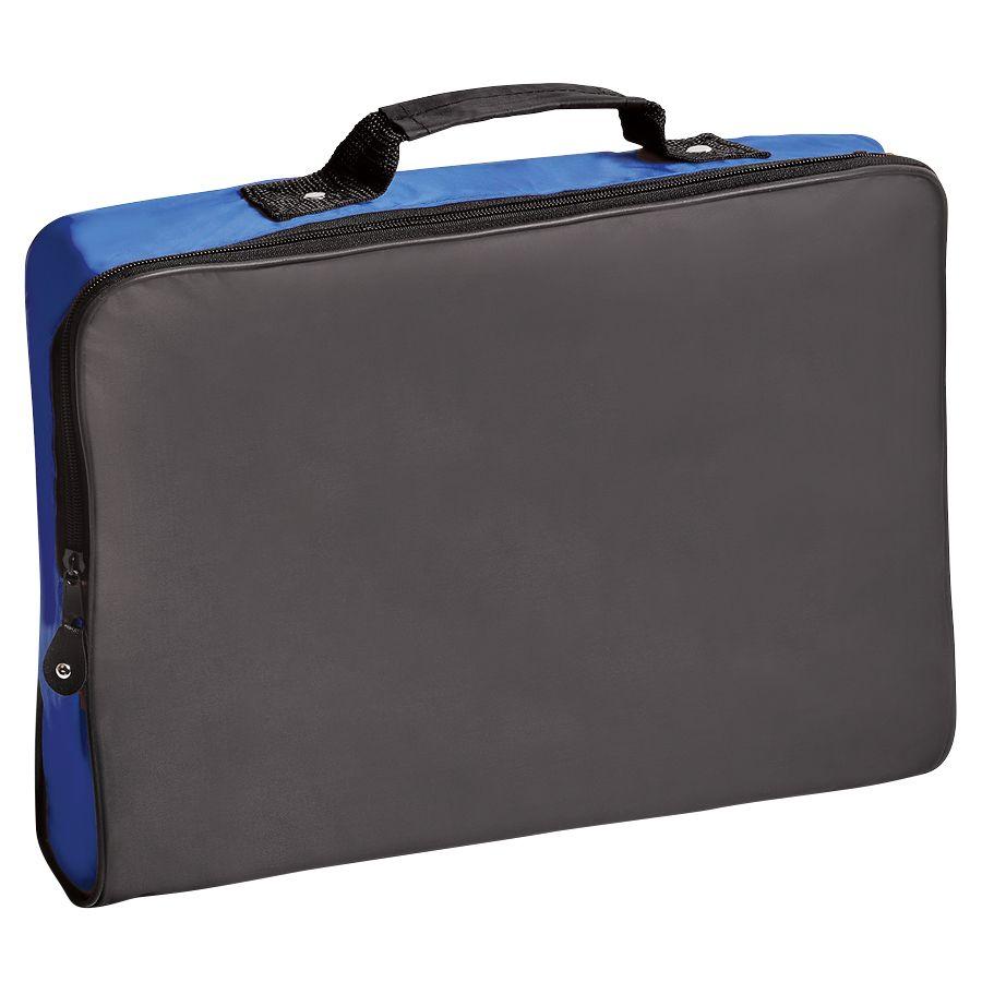 Конференц-сумка «Folder»; черный с синим; 39,5х30х5 см; полиэстер; шелкография