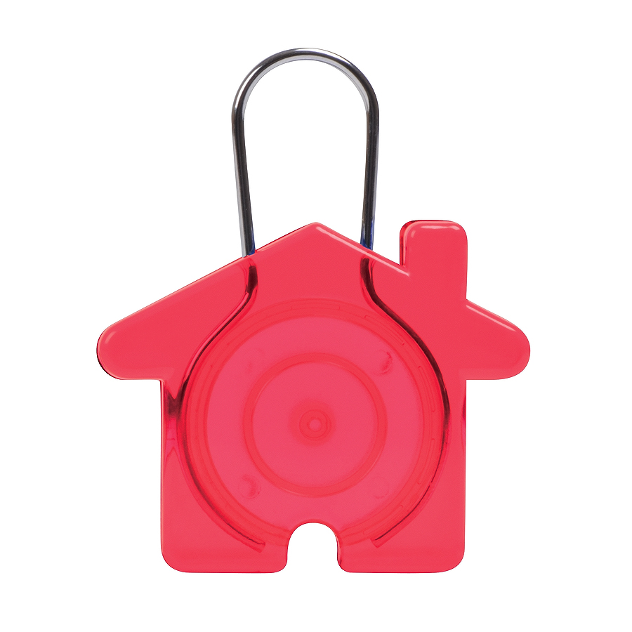 Брелок «Дом»,красный, 5,8х4,7х0,9см, пластик, металл