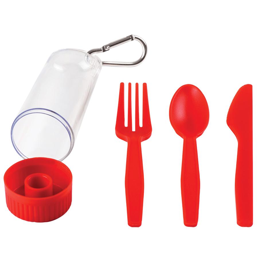 Фотография товара Набор «Pocket»:ложка,вилка,нож в футляре с карабином, красный, 4,2х15см,пластик