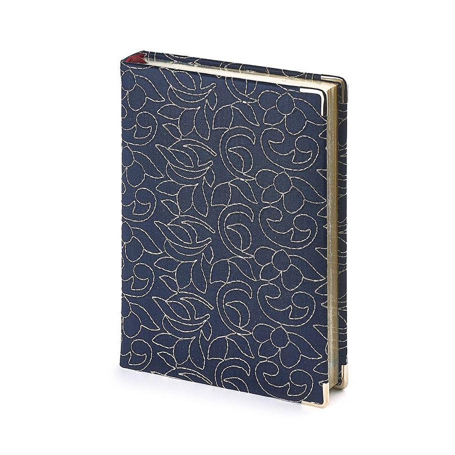 Ежедневник полудатированный Riviera, А5+, синий, бежевый блок, серебряный обрез, два ляссе