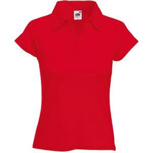 Поло «Lady-Fit Rib Polo», красный_XS, 100% х/б, 220 г/м2