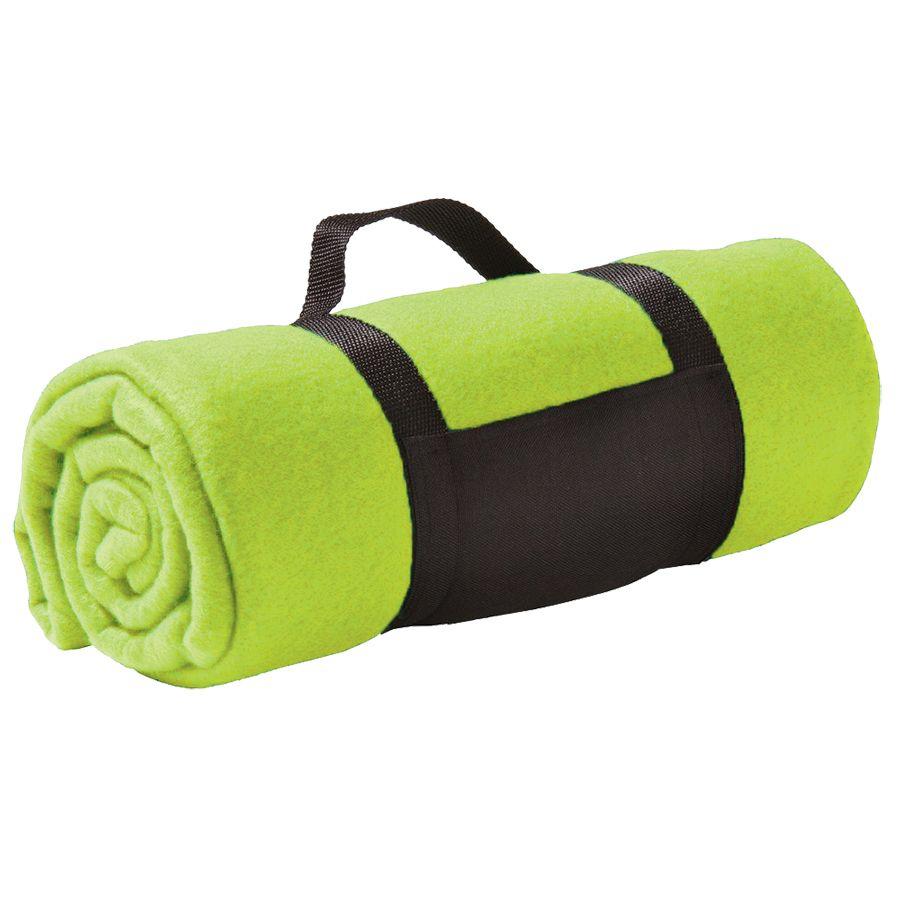 Плед «Color»; ярко-зеленый; 130х150 см; флис 220 гр/м2; шелкография, вышивка