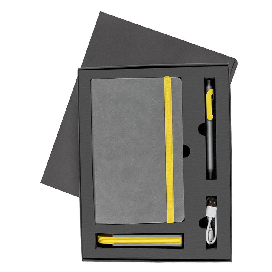 Набор  FANCY:универсальное зарядное устройство(2200мAh), блокнот и ручка в подарочной коробке,желтый