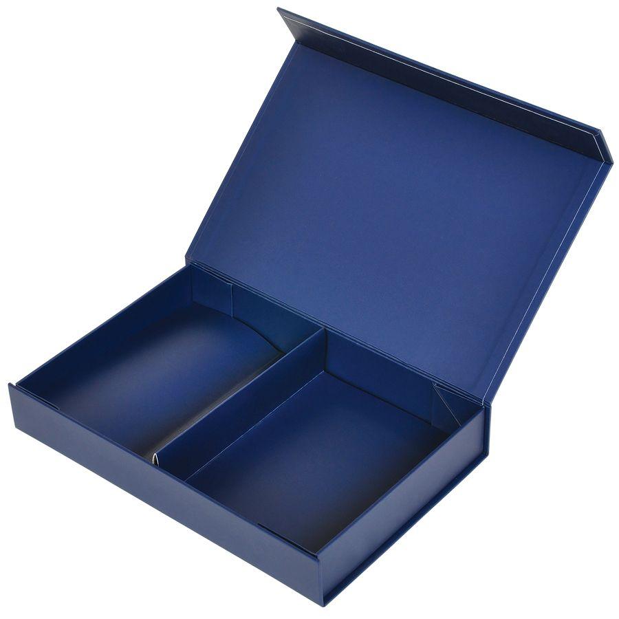 Фотография товара Коробка подарочная складная,  темно-синий,  16*24*4  см,  кашированный картон, тиснение, самосборная