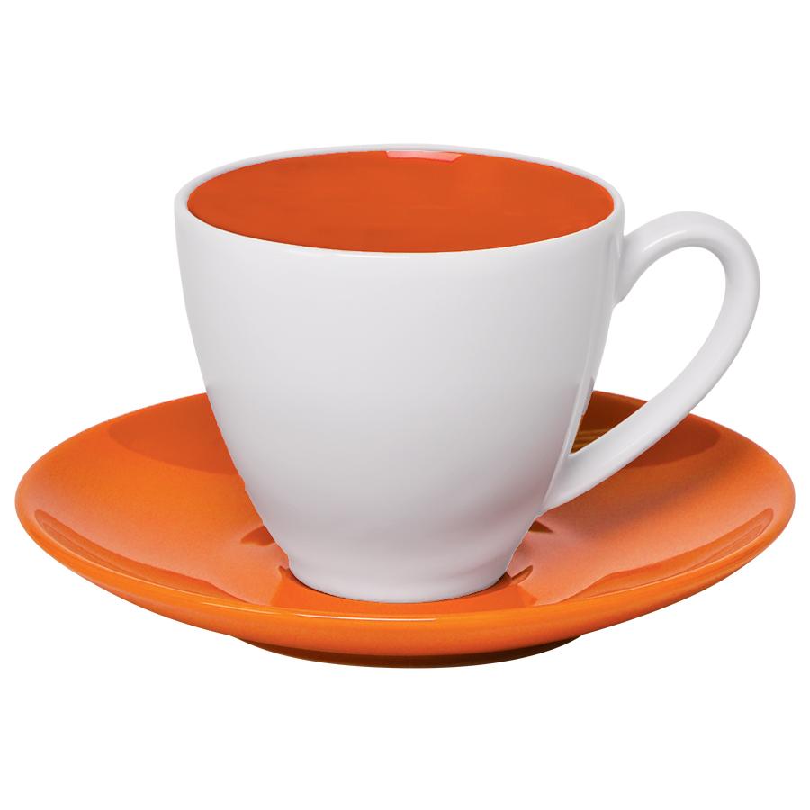 """Чайная пара """"Galena"""" в подарочной упаковке, оранжевый, 200мл, 15,3х15,3х10см, фарфор"""