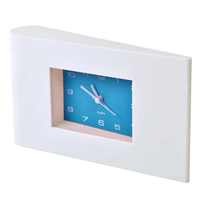 Часы настольные «Авангард» с будильником, белые с синим, 22,5х13х4 см, пластик