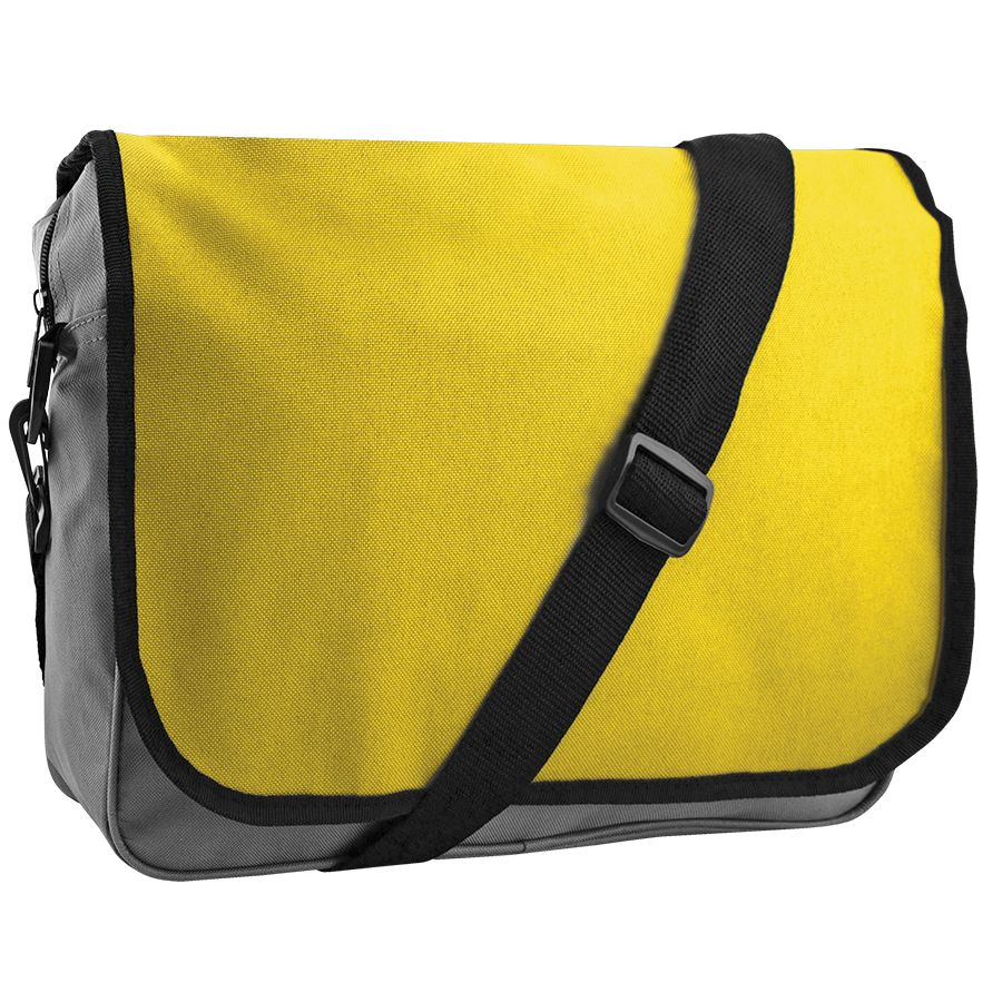Конференц-сумка «College»; серый с желтым; 38х30х9,5 см; полиэстер; шелкография