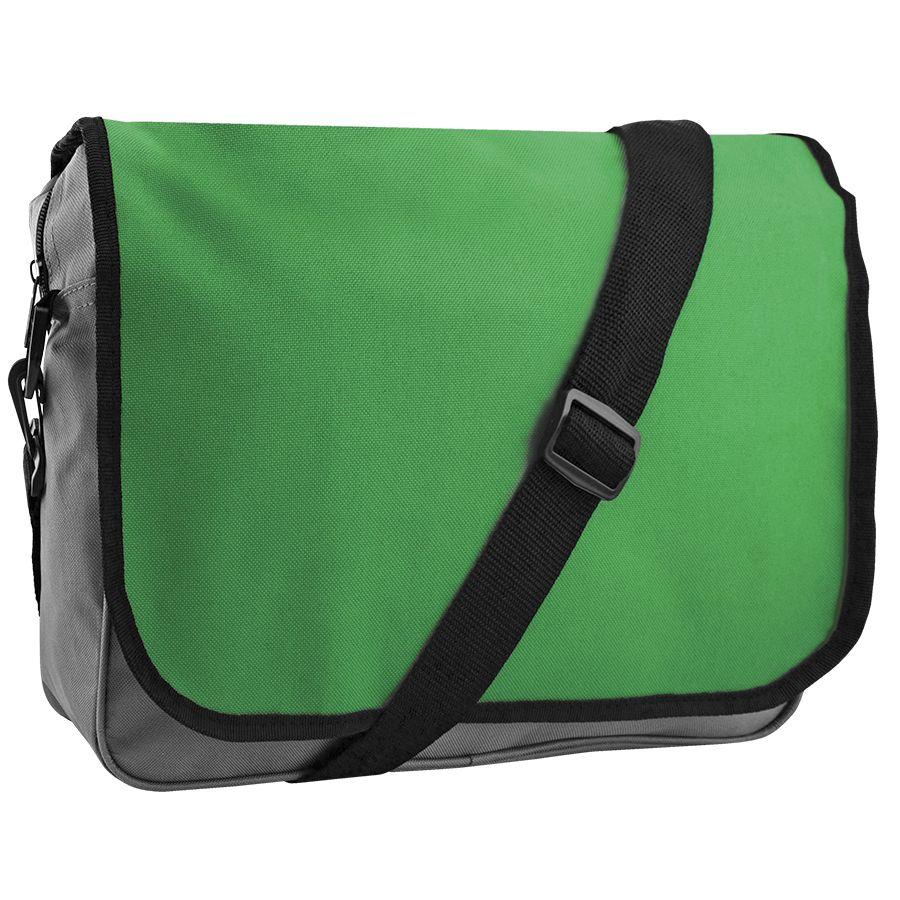 Конференц-сумка «College»; серый с зеленым; 38х30х9,5 см; полиэстер; шелкография