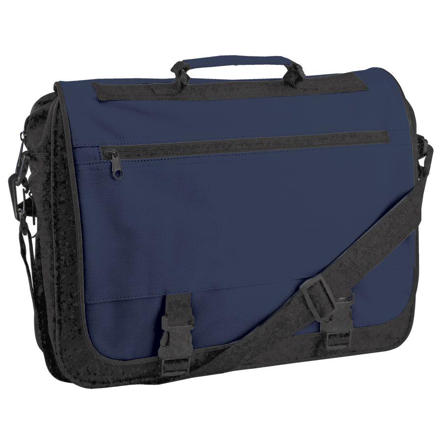Конференц-сумка «Expo»; черный с синим; 39х29х9 см; полиэстер; шелкография
