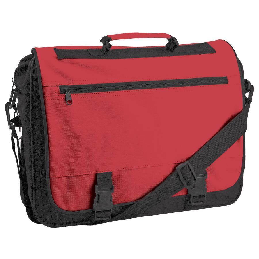 Конференц-сумка «Expo»; черный с красным; 39х29х9 см; полиэстер; шелкография