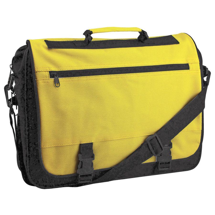 Конференц-сумка «Expo»; черный с желтым; 39х29х9 см; полиэстер. шелкография