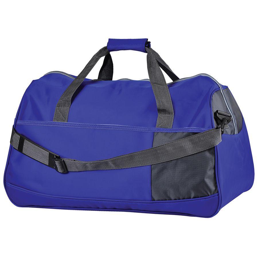 Сумка дорожная «Traveller»; синий с серым; 55х28х28,5 см; нейлон; шелкография